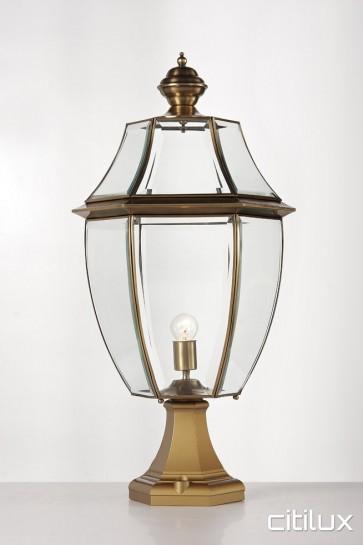 Austral Traditional Outdoor Brass Made Pillar Mount Light Elegant Range Citilux