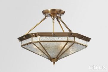 Emerton Classic Brass Made Semi Flush Mount Ceiling Light Elegant Range Citilux