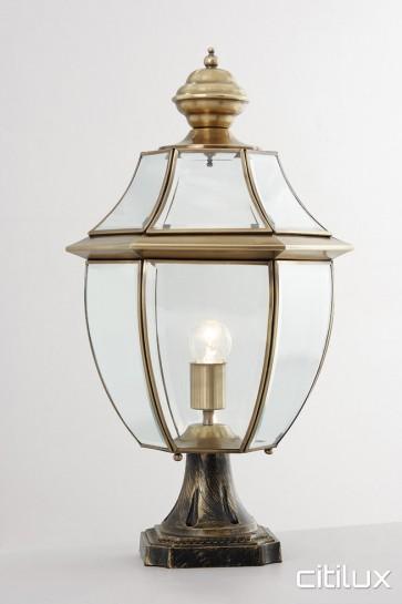 Epping Classic Outdoor Brass Made Pillar Mount Light Elegant Range Citilux