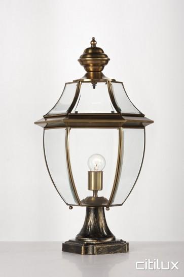 Erskine Park Traditional Outdoor Brass Made Pillar Mount Light Elegant Range Citilux