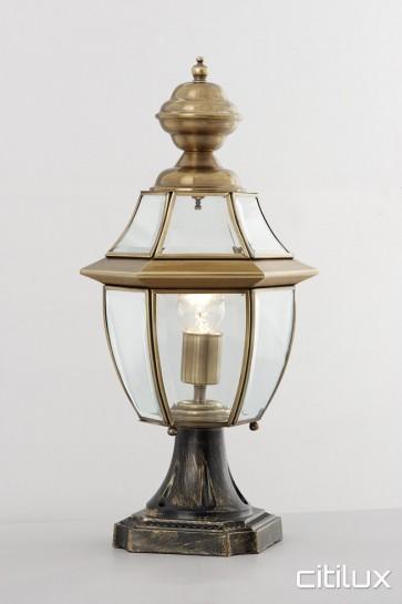 Eschol Park Traditional Outdoor Brass Made Pillar Mount Light Elegant Range Citilux