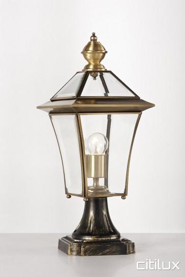 Fairfield Heights Traditional Outdoor Brass Made Pillar Mount Light Elegant Range Citilux