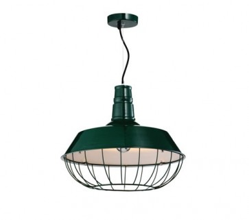 Industrial Funnel Pendant Lamp with Cage - Green - Pendant Light - Citilux