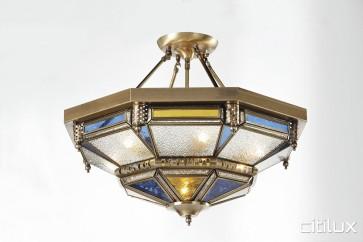 Malabar Classic Brass Made Semi Flush Mount Ceiling Light Elegant Range Citilux