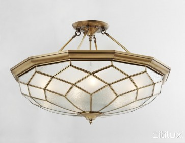 Merrylands West Classic Brass Made Semi Flush Mount Ceiling Light Elegant Range Citilux