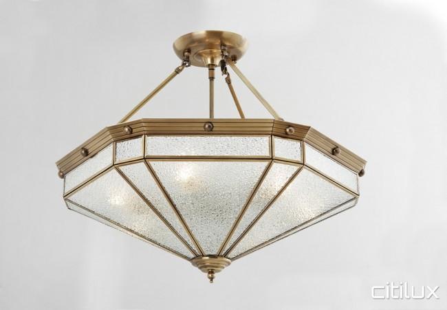 buy popular 7c21a 5db0c Ashcroft Classic Brass Made Semi Flush Mount Ceiling Light Elegant Range  Citilux