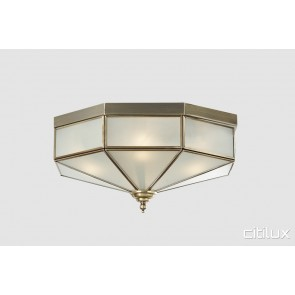 Alfords Point Classic Brass Made Flush Mount Ceiling Light Elegant Range Citilux