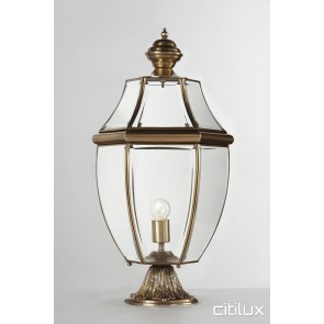 Ambarvale Classic Outdoor Brass Made Pillar Mount Light Elegant Range Citilux
