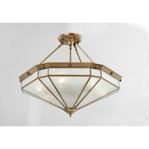 Ashcroft Classic Brass Made Semi Flush Mount Ceiling Light Elegant Range Citilux