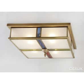 Asquith Traditional Brass Made Flush Mount Ceiling Light Elegant Range Citilux