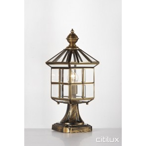 Banksia Classic Outdoor Brass Made Pillar Mount Light Elegant Range Citilux