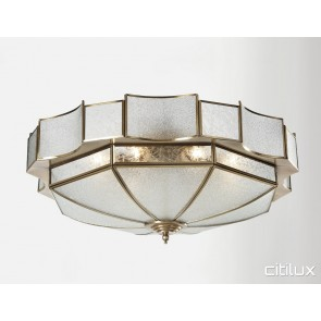 Busby Traditional Brass Made Flush Mount Ceiling Light Elegant Range Citilux
