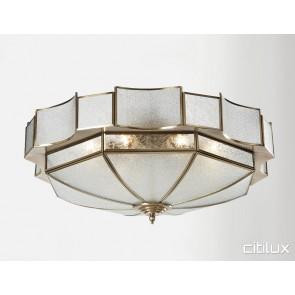 Busby Traditional Brass Made Flush Mount Ceiling Light Elegant Range Citilux