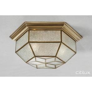 Cambridge Gardens Traditional Brass Made Flush Mount Ceiling Light Elegant Range Citilux