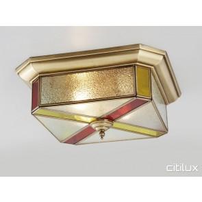 Cambridge Park Classic Brass Made Flush Mount Ceiling Light Elegant Range Citilux