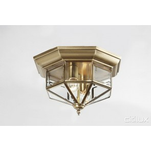 Camellia Traditional Brass Made Flush Mount Ceiling Light Elegant Range Citilux