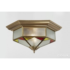Cammeray Classic Brass Made Flush Mount Ceiling Light Elegant Range Citilux