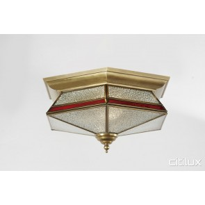 Campbelltown Traditional Brass Made Flush Mount Ceiling Light Elegant Range Citilux
