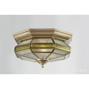 Campsie Traditional Brass Made Flush Mount Ceiling Light Elegant Range Citilux