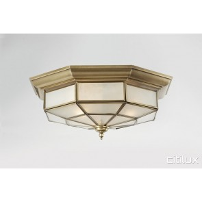 Canley Heights Traditional Brass Made Flush Mount Ceiling Light Elegant Range Citilux