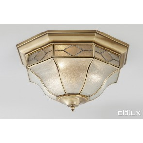 Canley Vale Classic Brass Made Flush Mount Ceiling Light Elegant Range Citilux