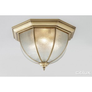 Canoelands Traditional Brass Made Flush Mount Ceiling Light Elegant Range Citilux