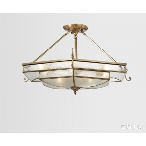 Dolans Bay Classic Brass Made Semi Flush Mount Ceiling Light Elegant Range Citilux