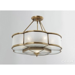 Dolls Point Classic Brass Made Semi Flush Mount Ceiling Light Elegant Range Citilux