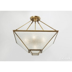 Doonside Classic Brass Made Semi Flush Mount Ceiling Light Elegant Range Citilux