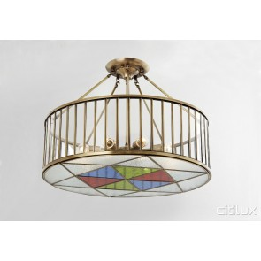 Double Bay Classic Brass Made Semi Flush Mount Ceiling Light Elegant Range Citilux