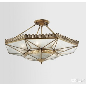 Dulwich Hill Classic Brass Made Semi Flush Mount Ceiling Light Elegant Range Citilux