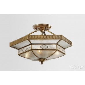 East Hills Classic Brass Made Semi Flush Mount Ceiling Light Elegant Range Citilux