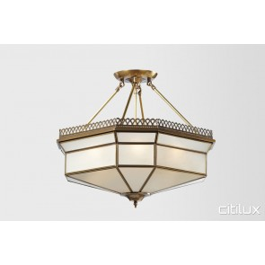 East Lindfield Classic Brass Made Semi Flush Mount Ceiling Light Elegant Range Citilux
