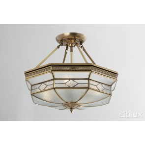 Edensor Park Classic Brass Made Semi Flush Mount Ceiling Light Elegant Range Citilux
