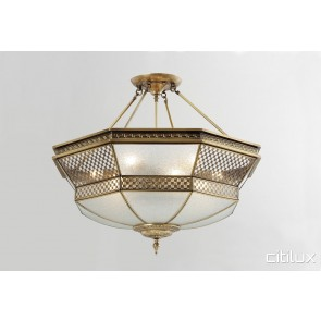 Elderslie Classic Brass Made Semi Flush Mount Ceiling Light Elegant Range Citilux