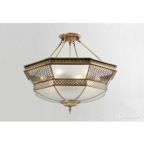 Elderslie Classic Brass Made Semi Flush Mount Ceiling Light Elegant Range Citilux