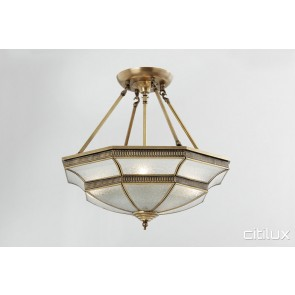 Elizabeth Hills Classic Brass Made Semi Flush Mount Ceiling Light Elegant Range Citilux