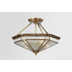 Emerton Classic Brass Made Semi Flush Mount Ceiling Light Elegant Range Citilux
