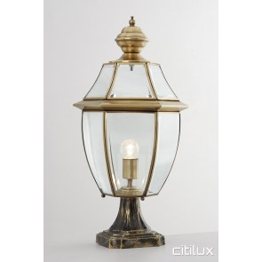 Englorie Park Traditional Outdoor Brass Made Pillar Mount Light Elegant Range Citilux