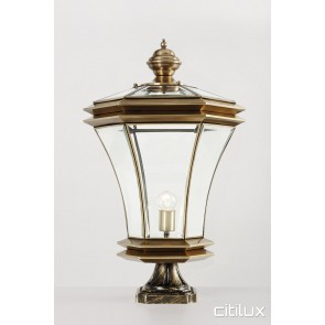 Eveleigh Classic Outdoor Brass Made Pillar Mount Light Elegant Range Citilux
