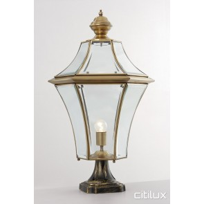 Fairfield Traditional Outdoor Brass Made Pillar Mount Light Elegant Range Citilux
