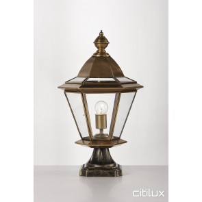 Fairfield West Classic Outdoor Brass Made Pillar Mount Light Elegant Range Citilux