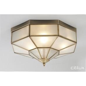 Hebersham Traditional Brass Made Flush Mount Ceiling Light Elegant Range Citilux