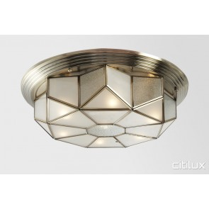 Helensburgh Classic Brass Made Flush Mount Ceiling Light Elegant Range Citilux