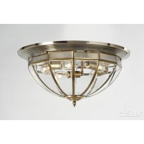 Holsworthy Traditional Brass Made Flush Mount Ceiling Light Elegant Range Citilux