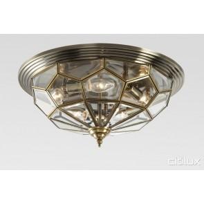 Hornsby Traditional Brass Made Flush Mount Ceiling Light Elegant Range Citilux