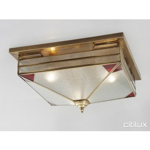 Hunters Hill Traditional Brass Made Flush Mount Ceiling Light Elegant Range Citilux