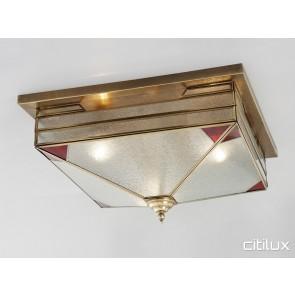 Hunters Hill Traditional Brass Made Flush Mount Ceiling Light Elegant Range Citilux