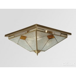 Hurlstone Park Traditional Brass Made Flush Mount Ceiling Light Elegant Range Citilux