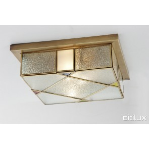 Ingleburn Traditional Brass Made Flush Mount Ceiling Light Elegant Range Citilux